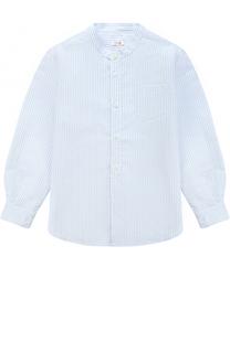 Рубашка из смеси хлопка и льна с воротником-стойкой Il Gufo