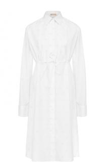 Хлопковое платье-рубашка с завышенной талией Alaia
