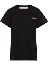 Хлопковая футболка прямого кроя с контрастной отделкой Etre Cecile