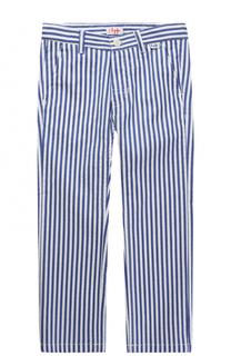 Хлопковые брюки свободного кроя в полоску Il Gufo