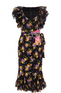 Шелковое платье с цветочным принтом и оборками Dolce & Gabbana