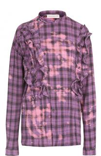 Хлопковая блуза в клетку с оборками Faith Connexion
