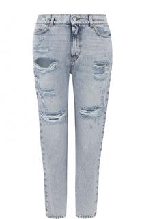 Укороченные джинсы с потертостями и вышивкой Dolce & Gabbana