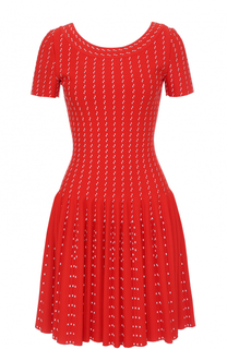 Вязаное мини-платье с коротким рукавом Alaia