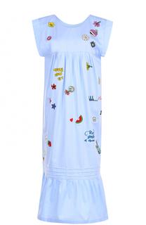Хлопковое платье без рукавов с контрастной вышивкой Mira Mikati