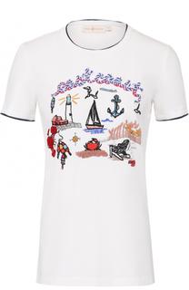 Хлопковая футболка с контрастной отделкой Tory Burch