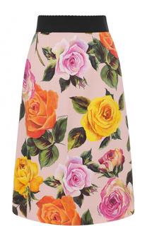 Юбка с контрастным поясом и цветочным принтом Dolce & Gabbana