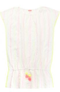 Хлопковое платье в контрастную полоску с поясом и декором Sunuva