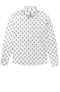 Хлопковая рубашка с принтом Giorgio Armani