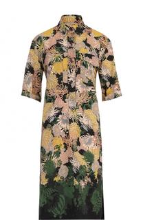 Шелковое платье-рубашка с принтом Dries Van Noten