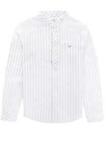 Хлопковая рубашка с принтом и воротником-стойкой Giorgio Armani