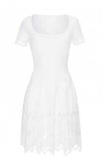 Мини-платье с круглым вырезом и коротким рукавом Alaia