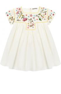 Хлопковое мини-платье свободного кроя с вышивками и бисером Ermanno Scervino