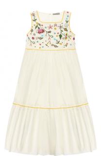 Хлопковое платье-макси свободного кроя с вышивками и бисером Ermanno Scervino