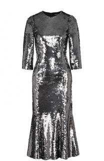 Приталенное платье с укороченным рукавом и пайетками Dolce & Gabbana