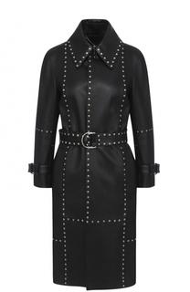 Кожаное пальто с поясом и металлическими заклепками Balenciaga