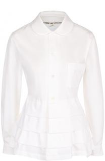 Хлопковая блуза с оборками и накладным карманом Comme des Garcons