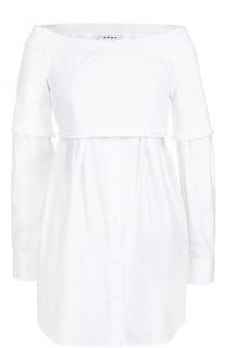 Хлопковая блуза свободного кроя с открытыми плечами DKNY