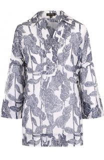 Блуза с укороченным рукавом и цветочным принтом Escada