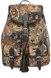 Рюкзак с отделкой из кожи и принтом Saint Laurent