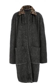 Пальто прямого кроя с накладными карманами и контрастным воротником Rochas