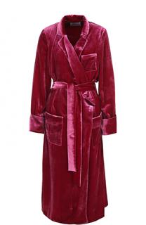 Бархатное удлиненное пальто с поясом Racil