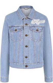 Джинсовая куртка с потертостями и логотипом бренда Kenzo
