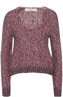 Пуловер фактурной вязки с V-образным вырезом Lanvin