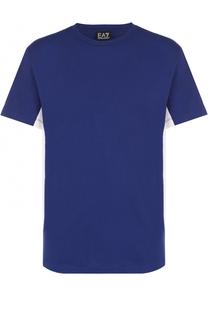 Хлопковая футболка с контрастными вставками Emporio Armani