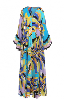 Шелковое платье с V-образным вырезом и ярким принтом Emilio Pucci