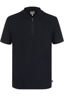 Хлопковая футболка с вырезом на молнии Armani Collezioni