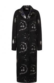 Пальто прямого кроя с металлизированным принтом Dries Van Noten