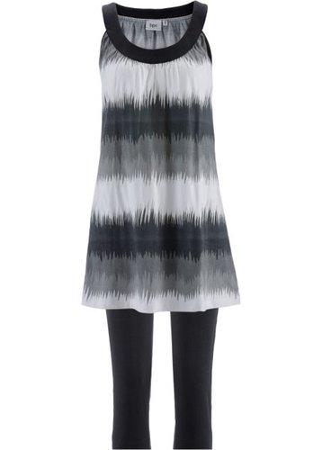 Платье мини + леггинсы капри (черный/белый с рисунком + черный)