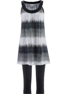 Платье мини + леггинсы капри (черный/белый с рисунком + черный) Bonprix