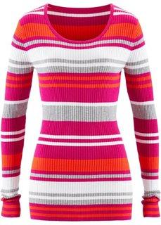 Пуловер с круглым вырезом (нежная фуксия в полоску) Bonprix