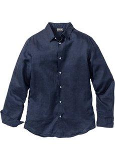 Льняная рубашка Slim Fit с длинным рукавом (темно-синий) Bonprix