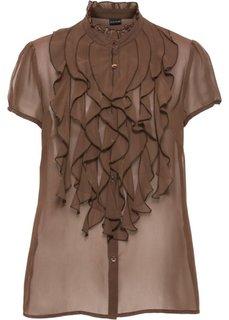 Блузка с оборками (коричневый) Bonprix