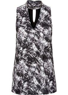 Блуза-топ из разных материалов (черный с рисунком) Bonprix