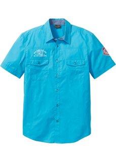 Рубашка Slim Fit с короткими рукавами (бирюзовый) Bonprix