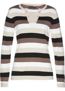 Пуловер (коричневый/бежевый/экрю/черный в полоску) Bonprix