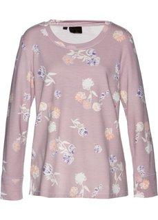 Свитшот с цветочным принтом (розовый матовый с рисунком) Bonprix