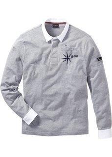 Трикотажная рубашка поло Regular Fit (светло-серый меланж) Bonprix