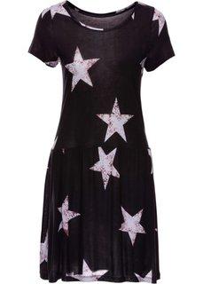 Трикотажное платье (черный с рисунком) Bonprix