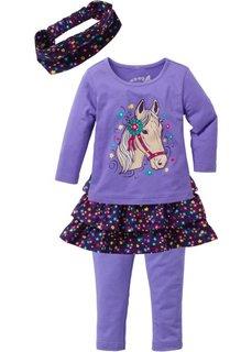 Футболка + юбка + легинсы + повязка для волос (4 вещи) (нежно-лиловый/темно-лиловый) Bonprix
