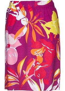 Трикотажная юбка (фиолетовая орхидея/ярко-розовый гибискус с принтом) Bonprix