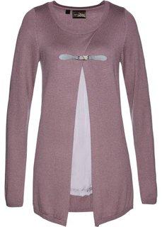 Пуловер дизайна 2 в 1 (фиолетовый матовый/серебристый матовый) Bonprix