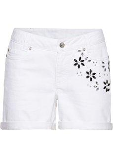 Классика гардероба: шорты с цветами из стекла (белый) Bonprix