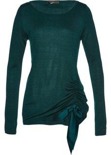 Пуловер с драпировкой (насыщенный зеленый) Bonprix