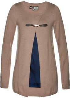 Пуловер дизайна 2 в 1 (верблюжий/темно-синий) Bonprix