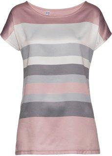 Футболка (розовый матовый/дымчато-серый в полоску) Bonprix